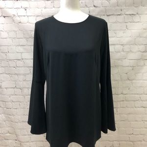 Halogen Bow Back Bell Sleeve Black Blouse Sz Small